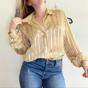 Vintage • striped gold collared button up blouse